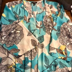 Fun floral blouse of Beach Coverup